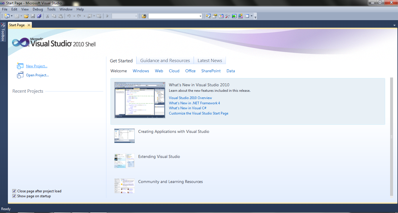 microsoft visual studio-start page